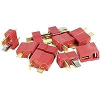 Sourcingmap a14070300ux0692 - 5coppie placcato t-plug m / f adattatore connettore rosso a 2 pin oro