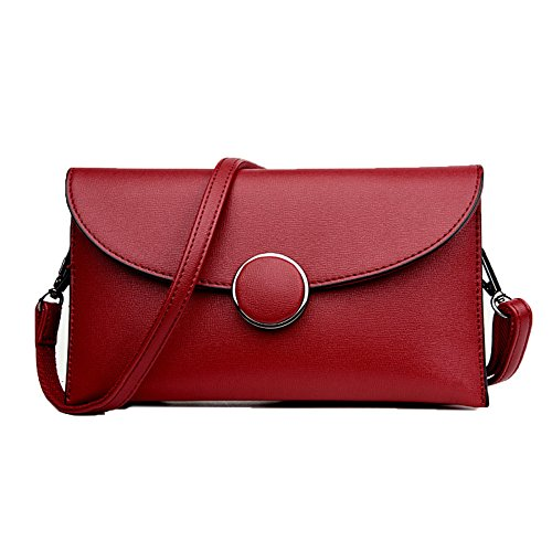 Leder Damen Clutch Bag Abendtasche Kleine Handtasche Lady Elegante Schultertasche City Bag Long Chain,Red-OneSize -