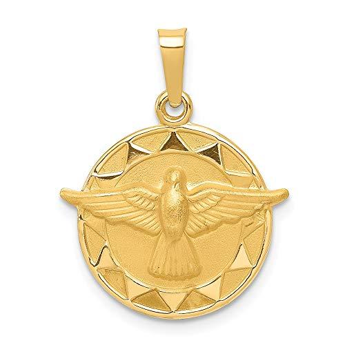 Diamond2deal Medaillen-Anhänger 14 Karat Gelbgold Heiliger Geist rund für Halskette