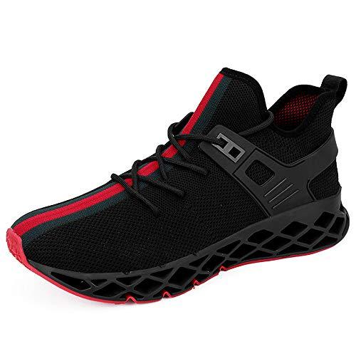 Scarpe da Ginnastica Uomo Scarpe da Corsa Scarpe per Correre Running Sportive Ginnastica Sneakers Scarpe da Casual Basse Traspirante Fitness Training Trekking(Nero,44)