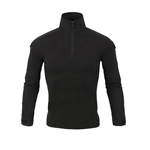 Hombres Airsoft Militar Táctico Camisa Largo Manga Camuflaje Combate BDU Camo Camisetas con Cremallera Negro Small