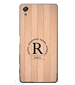 YuBingo Sony Xperia XA :: Sony Xperia XA Dual 2D Designer Phone Back Case Cover ( Monogram with Beautifully Written Surname Rana in Wooden Finish (Plastic) )