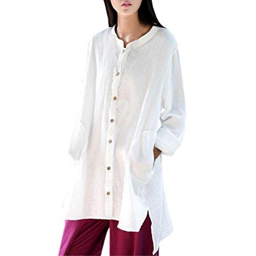 BHYDRY Frauen Loose Fit Button Down unregelmäßiger Saum Langarm Cardigan Shirts Bluse(L,Weiß)