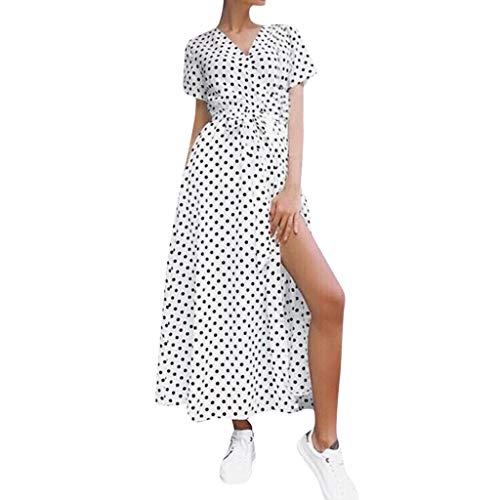 Damen Kleid Für Damen Elegant Somerl Damen Kleider Lässige Sommermode Dot Print Krawatte Taille Split Strandkleid Kleidung Für Damen(Weiß,XL) - Winter Dot Kleid