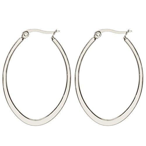MYA art Damen Creolen Ovale Ringe hängend mit Stecker Edelstahl Silber Große Ohrringe Oval Groß Flach 5cm MYAWGOHR-79 - Silber Ohrringe Oval