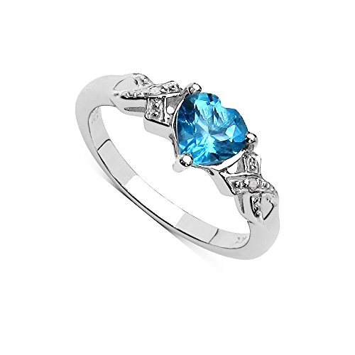 La Colección Anillos Diamantes: Anillo compromiso con corazón de Topacio 6x6mm set de diamantes, anillo de plata, Perfecto para Regalo, aniversario, talla del anillo 25