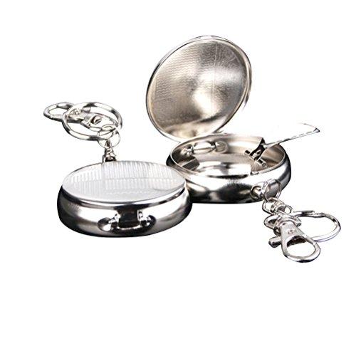 VORCOOL 2pezzi Mini posacenere circolare da tasca in acciaio inox portachiavi