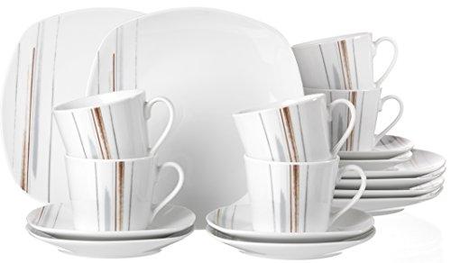 Ritzenhoff & Breker Kaffeeservice Brenda, 18-teilig, Porzellangeschirr, Weiß/Braun