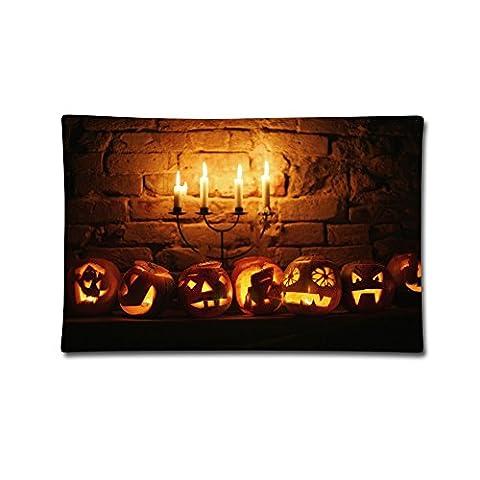 Moxicha Halloween Pumpkin Pair Cotton Throw Pillow Covers 20