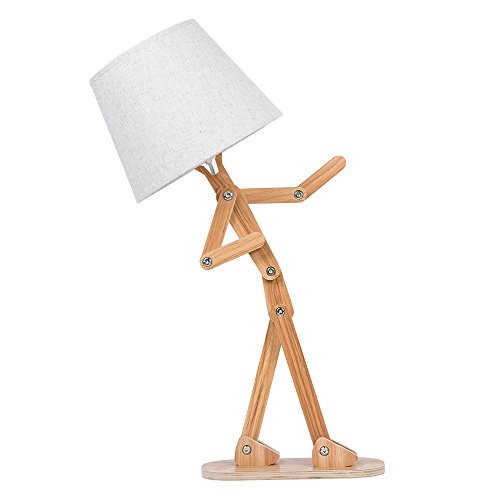HROOME Unique Design Contemporary Wooden Table Lamp with Shade Cloth E14 Screw Adjustable Height Desk Reading Light Swing Arm for Bedroom Office Living Room Study Art Deco