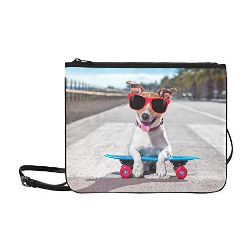 SHAOKAO Lustiger Hund, der auf einem Skateboard-Muster steht Benutzerdefinierte hochwertige Nylon Slim Clutch Cross Body Bag Schultertasche -