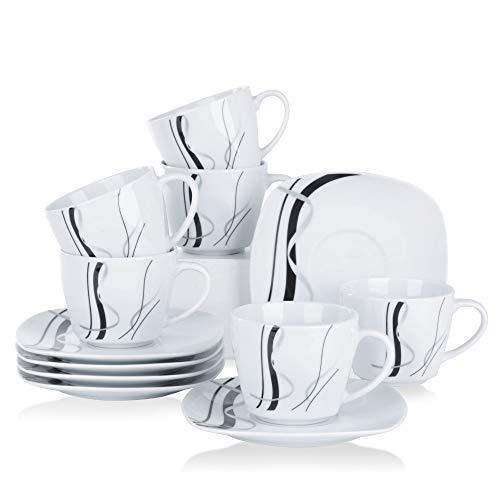 VEWEET Porzellan 6 Kaffeetassen mit 6 Untertassen 'Fiona' 12-teilig Set | Füllmenge 220 ml | Ergänzung zum Tafelservice 'Fiona' | Kaffeeservice Set für 6 Personen Eine Untertasse