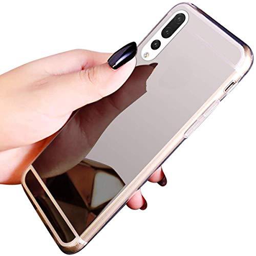 Herbests Kompatibel mit Huawei P20 Pro Handyhülle Spiegel Schutzhülle, Ultra dünn Durchsichtige Handyhülle Glänzend Sparkle Clear Cover Transparent Weiche Silikon Crystal Case,Silber