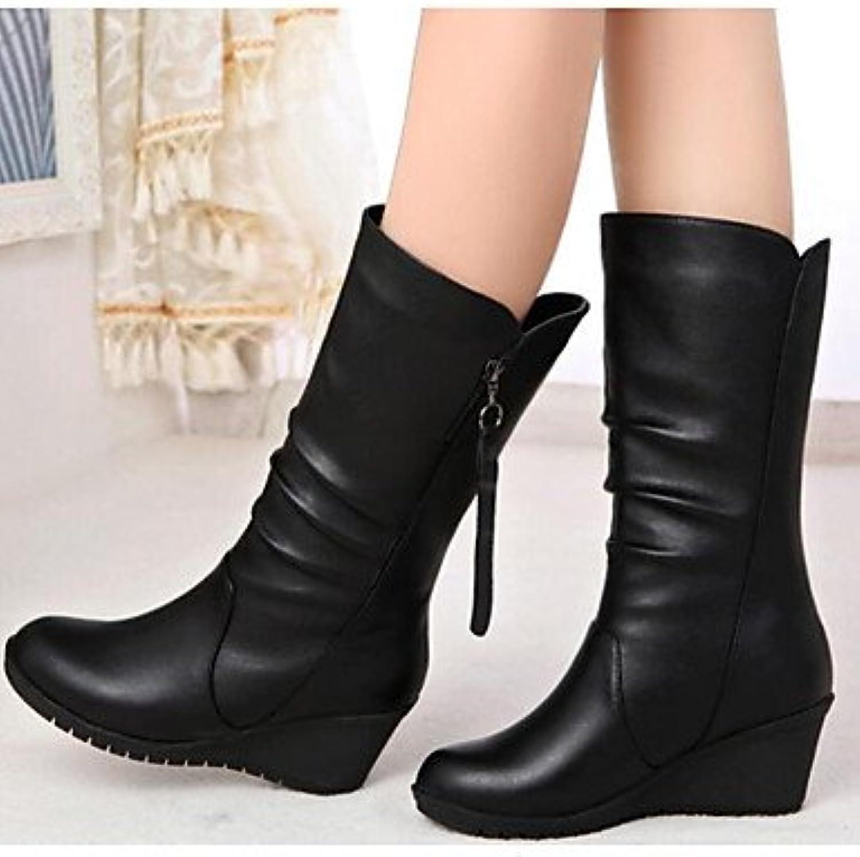 RTRY Zapatos De Mujer Cuero Nappa Moda Otoño Invierno Botas Planas Botas De Tacón Botines/Botines Botas Mid-Calf...