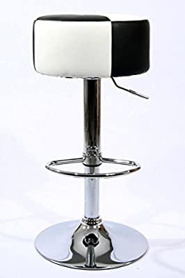 Barstools Black/White Faux leather height adjustable - inexpensive UK light store.