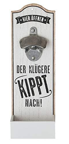 1 x Wand-Flaschenöffner Metallöffner Kronkorkensammler Der klügere Kippt nach Höhe 30 cm, Wanddeko, Wandobjekt (weiß (Stückpreis))