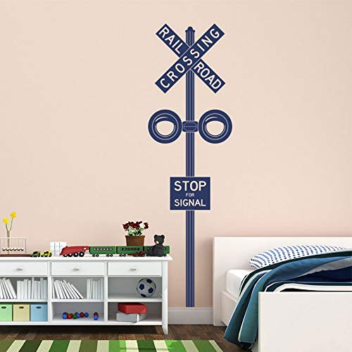 XCGZ Wandsticker Bahnübergang Zeichen Aufkleber Kinder Wand Kunst Kinderzimmer Dekor Wandaufkleber Zug Thema Spielzimmer Wandbild 42 * 142 cm