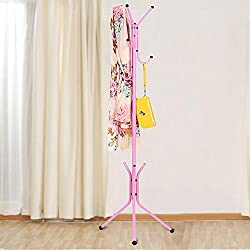 Deziredeal Tree-Shaped wrought iron coat rack hanger creative fashion bedroom for hanging clothes shelves, wrought iron racks standing coat rack-PINK