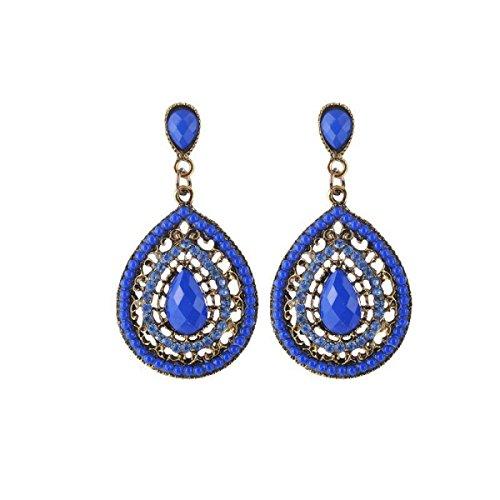 blich Wassertropfen Diamanten Perlen Ohrringe,Blue-OneSize ()