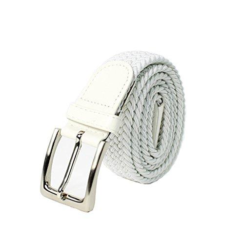 Glamexx24 Unisex Elastischer Stoffgürtel Geflochtener Stretchgürtel Dehnbarer Gürtel für Damen und Herren, Weiß, 110cm