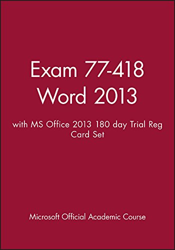 Exam 77-418 Word 2013 with MS Office 2013 180 day Trial Reg Card Set