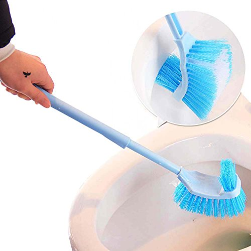 Double Sides Toilet Brush Portable WC Bathroom Arcuated Toilet Brush Plastic Long Handle Corner Rim Cleaning Brush Tool