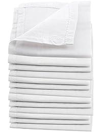 Skinny Pack of 10 White full Length Handkerchiefs