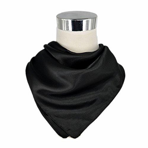 UK_Stone 100% Seide Unisex Einfarbig Bandana Schal Halstuch 50*50cm (Schwarz)