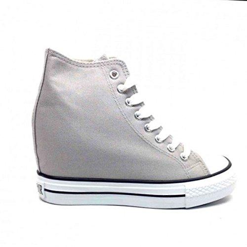 Preisvergleich Produktbild Cafè Noir Sneaker Damen Canvas Hoch con Wedge Cm 8 Grau-40