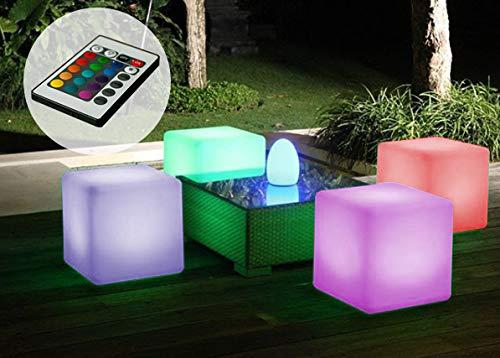 LED Würfel Sitzwürfel 35x35x35cm Farbwechsel Fernbedienung Leuchtwürfel Garten Deko