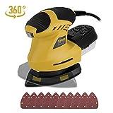 Levigatrice Mouse, TOPVORK 1.6A con 10 Pezzi di Carta Abrasiva, Platorello Girevole a 360 °,...