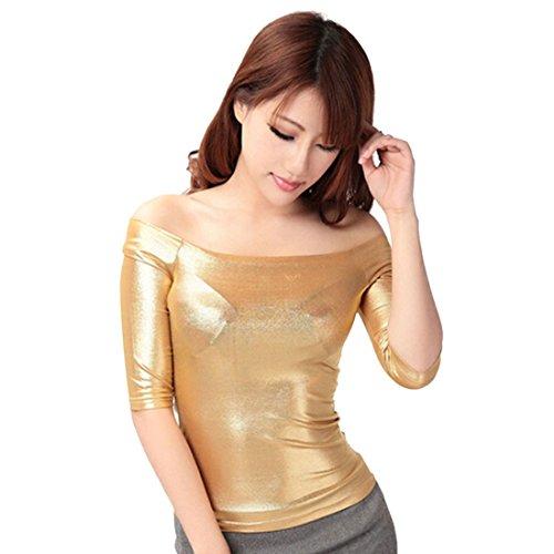 Femmes Sexy Douce De L'Epaule A Encolure Bateau Manches Demi-Shirt De Base T-Shirt Tops d'or