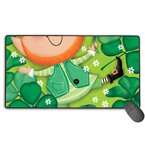 at fghj Lucky Leprechaun St. Patrick's Day Large Gaming Mouse Pad Extended Mat Non-Slip Rubber Desk Pad Computer Keyboard Mat ()