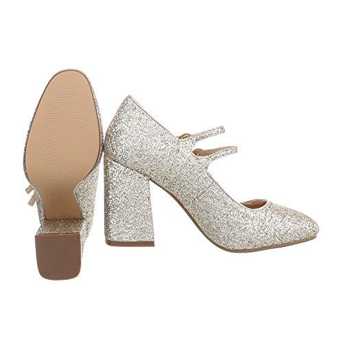 Ital-Design High Heel Pumps Damenschuhe High Heel Pumps Pump High Heels Pumps Gold L1058