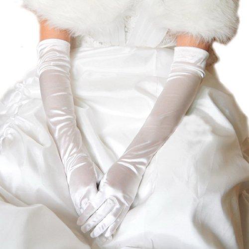 Eozy-5 Couleurs à Choix - 1 Paire de Gants Longs en Satin pour Mariage Soirée Cérémonie Opéra pour Femme Fille Superbe #4 Blanc