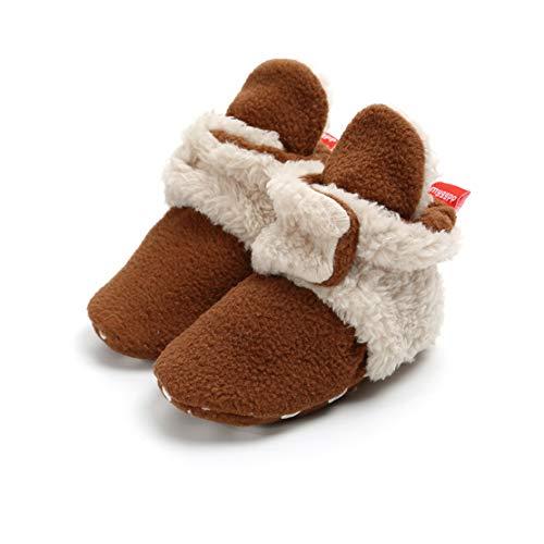 Unisex-Baby Neugeborenes Fleece Booties Bio Baumwoll-Futter und Rutschfeste Greifer Winterschuhe (0-6 Monate, Braun)