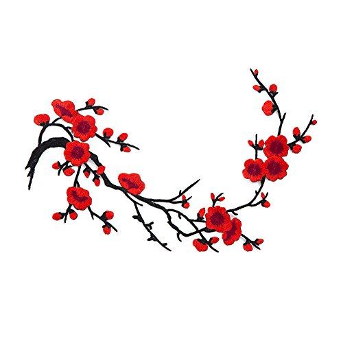 Flores de ciruelo chinas bordadas para ropa de bricolaje, decoraciones rosso