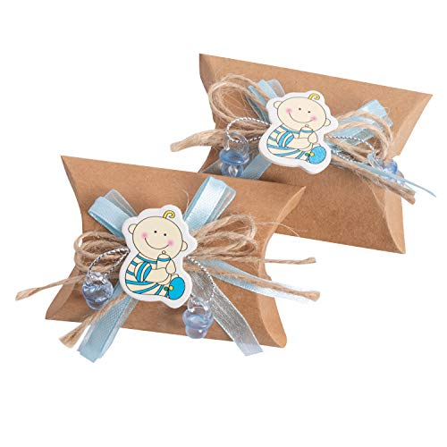 QILICZ Junge Kissen Schachtel Gastgeschenke, 24 STK Kraftpapier Geschenk-Kästen mit Jute Band Schleife/Dekoschnuller Pralinenschachtel Geschenkboxen für Babydusche Neugeborenen Taufe Baby-Partys