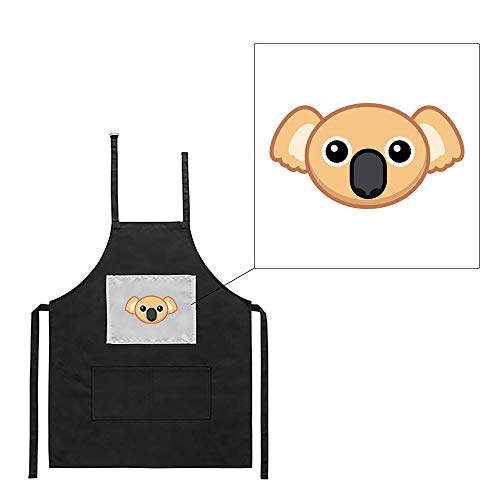 Delantal Negro Cocina Barbacoa Koala Cartoon Estampado