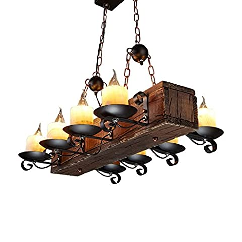 Ywyun American Country Lustre en bois, Retro Industrial Wind Salon Décoration Plafonnier, Nordic Restaurant Cafe Hanging Light ( Size : 70*55cm )