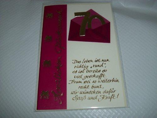 """Geburtstagskarte Glückwunschkarte Grusskarte """"Zum 70. Geburtstag Herzlichen Glückwunsch , Das Leben ist nun richtig """"rund"""", es ist bereits so viel geschafft. D´rum sei es weiterhin recht bunt, wir wünschen dafür Spaß und Kraft!"""""""" Karte mit Umschlag cremeß"""