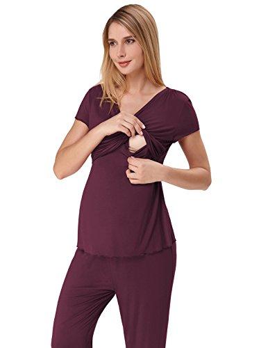 Zexxxy Pyjama 2 Teilig Damen Zweiteilige Umstandsmode Nachtwäsche mit Stillfunktion Weinrot L - Modal Lounge-hose