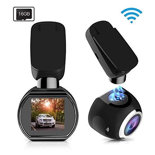 HQBKING Telecamera per Auto WiFi, Auto Dash Cam Auto Camera Car 1080P con Infrarossi Visione Notturna , 170 Gradi , Rilevazione di Movimento, Registrazione in Loop, WDR,G-Sensor e 1.5' Schermo LCD 360 ruota, 16G SD Card inclusa