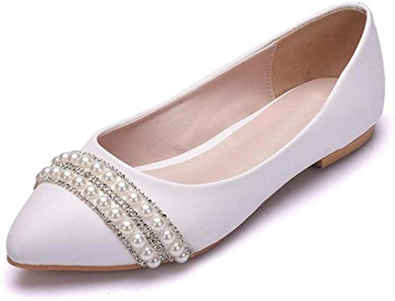 Ballerine da Donna in Raso con Perline in Rilievo (Coloreee   bianca-Flat, Dimensione   6.5 UK) | Prestazione eccellente  | Uomini/Donna Scarpa