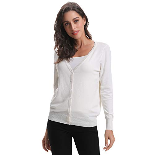 Luxspire Women's Long Sleeve Sweater, V-Neck Short Style Open Front Button Down Soft Basic Knitwear Cardigan for Girls Ladies, White, X-Large (Button-down V-neck Cardigan)
