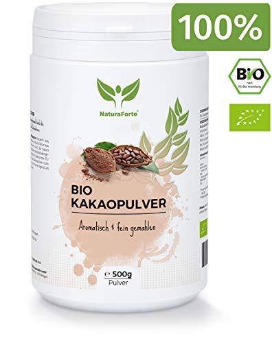 NaturaForte Kakaopulver Bio 500g - Kakao Pulver Roh, Ohne Zucker, Stark Entölt, 11% Fett, Intensives Aroma aus hochwertigen Kakaobohnen, Zuckerfrei, Vegan, Rein und Glutenfrei - Reine Kakao