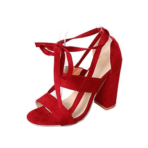 Fuibo Elegant Sandalette | Mode Frauen Damen Sandalen Ankle High Heels Block Party Offene Spitze Schuhe (41, Rot) (Block-heel-schuhe)