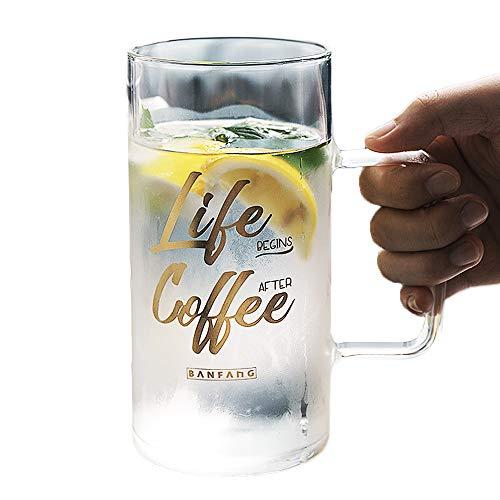 Kimmyer Hochwertige Borosilikatglas-Bierkrüge mit Glasabdeckung, können direkt erhitzt Werden, Cup Mouth Verdickung - 25 Unzen / 720 ML - für Root Beer Floats oder Limonade (Float-gläser Root Beer)