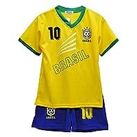 Ensemble de sport maillot et short Bresil enfantTee shirt imprimé du chiffre 10 sur le devantShort taille élastique -composition : 100 % polyesterLavage à 30 °Taille de 2 à 14 ans
