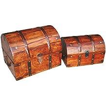Caja de madera con candado de BRYNNBERG | Modelo: Tradesman gran |Cofre del tesoro pirata de estilo vintage | Hecha a mano | Diseño retro |